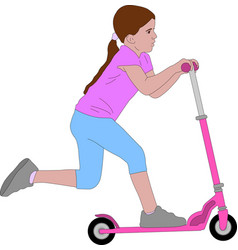 preschooler girl riding microscooter vector image