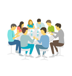 round table talks brainstorm team business people vector image