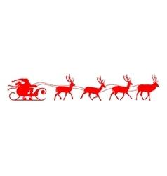Santa sleigh reindeer red silhouette vector