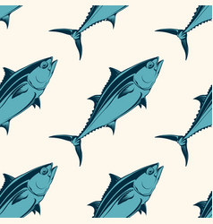seafood seamless pattern with tuna vector image