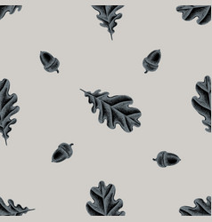 seamless pattern with hand drawn stylized oak vector image