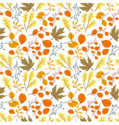 seamless pattern with oak autumn leaves vector image