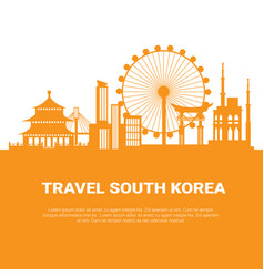 seoul city silhouette korean skyscrapers and vector image