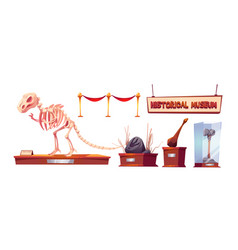 Set exhibits for historical museum vector