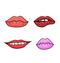 set of doodle womens lips vector image