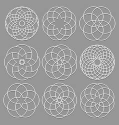 set of round elements cut out paper for arabic vector image