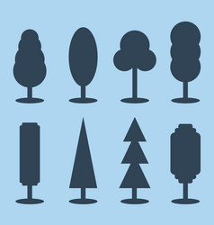 set of simple silhouette tree icons vector image