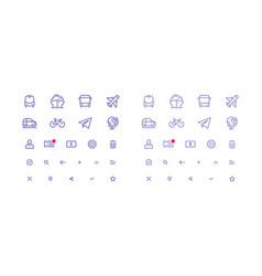 set of thin line icons for transport vector image