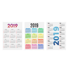 set of three 2019 calendars on a white background vector image