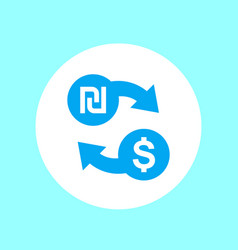 Shekel to dollar exchange icon vector