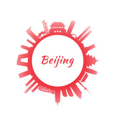 Silhouette beijing skyline with red buildings vector