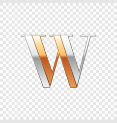 silver and gold font symbol alphabet letter w vector image