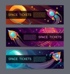 Space horizontal banners rocket launch concept vector