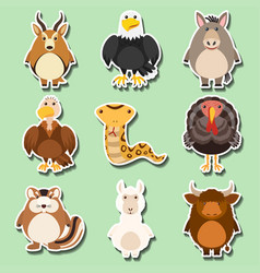 Sticker design with many animals on green vector