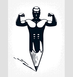 Strongman muscle man combined with pencil into a vector