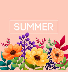 summer tropical design template with leaves and vector image
