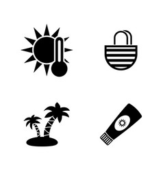 sunbathe simple related icons vector image