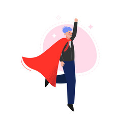 Super man in red waving cape rising his hand vector