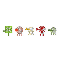 target icon set color outline style vector image
