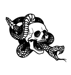 Tattoo with skull and snakeisolated vector