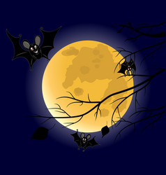 three bats on full moon background vector image