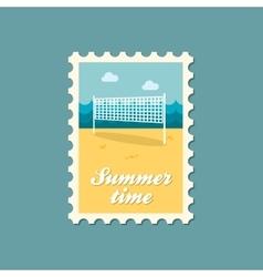 Volleyball net beach sport flat stamp vector