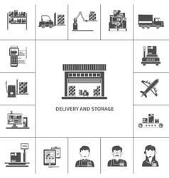 Warehouse Icons Black vector