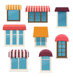windows with outside awnings vector image