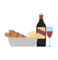Wine bottle and cup with bread and cheese vector