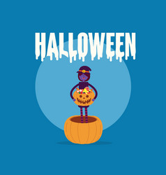 witch holding pumpkin basket full candies vector image