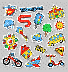 city transport with bicycle car and bus vector image