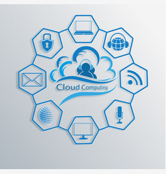 computer cloud with attributes of the internet vector image vector image