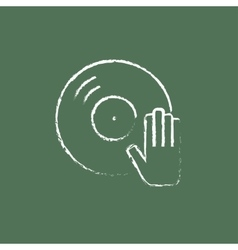 Dj hand with disc icon drawn in chalk vector