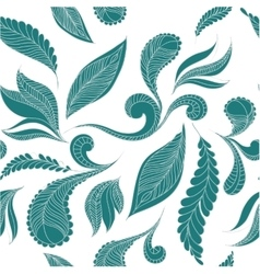 Doodle seamless pattern feathers vector image