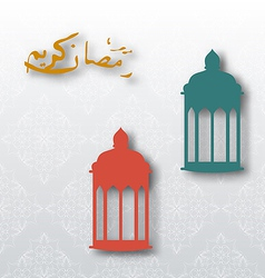 Eid Mubarak background with lamps vector image vector image
