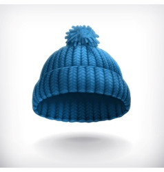 Knitted blue cap vector image vector image