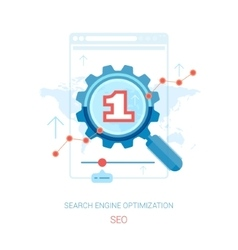 SEO optimization and search marketing flat icons vector image