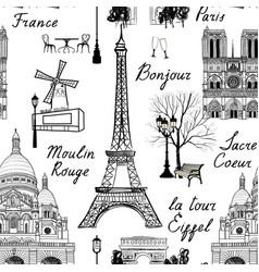 Travel paris city seamless pattern europe famous vector