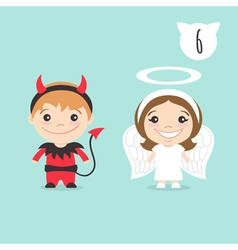 two happy cute kids characters Boy in imp or vector image vector image