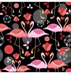 beautiful pattern lovers flamingos vector image vector image