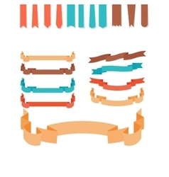 Flat style ribbons set vector image vector image