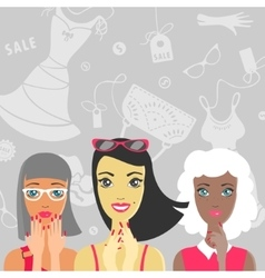 Group of girls are surprised at the sale vector image