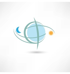 Simple planet symbol with moon and sun vector