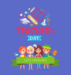teachers day placard vector image