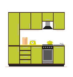 kitchen set modern kitchen furniture in a flat vector image