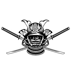 samurai helmet and crossed katanas vector image