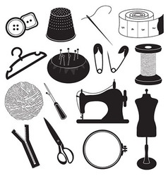 Sewing Tool Icons Collection vector image vector image