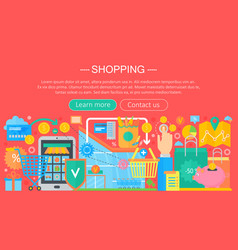 Shopping online and e-commerce shopping concept vector