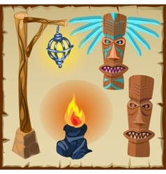 Two totems fire and lantern ancient symbols vector image vector image