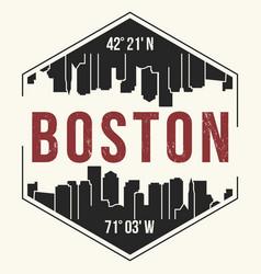 boston city graphic t-shirt design tee print vector image vector image